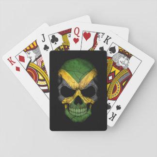 Jamaican Flag Skull on Black Poker Deck