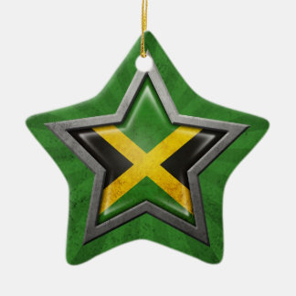 Jamaican Flag Star with Rays of Light Christmas Ornament