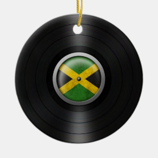 Jamaican Flag Vinyl Record Album Graphic Christmas Ornament