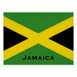 Jamaican Flag with Jamaica Word World Flags Poster