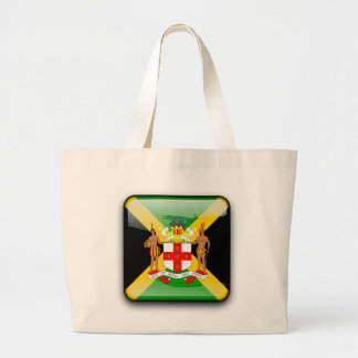 Jamaican glossy flag large tote bag