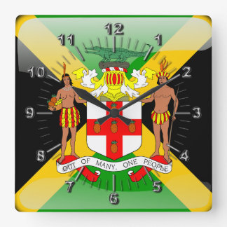 Jamaican glossy flag square wall clock