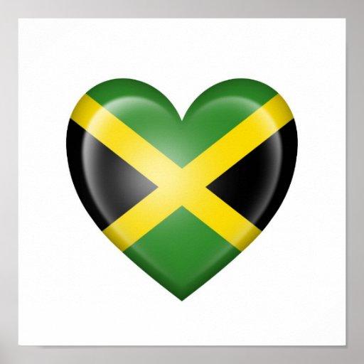 Jamaican Heart Flag on White Poster