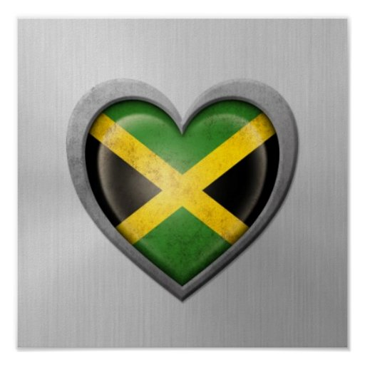 Jamaican Heart Flag Stainless Steel Effect Print