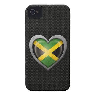 Jamaican Heart Flag Steel Mesh Effect iPhone 4 Case