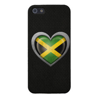 Jamaican Heart Flag Steel Mesh Effect Cover For iPhone 5