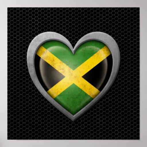 Jamaican Heart Flag Steel Mesh Effect Print