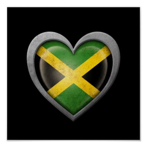 Jamaican Heart Flag with Metal Effect Print