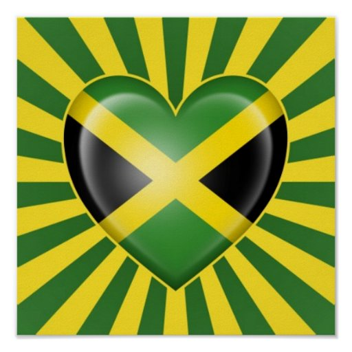 Jamaican Heart Flag with Star Burst Poster