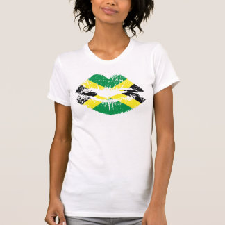 Jamaican T-shirt for ladies. White short sleeve.