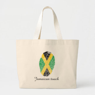 Jamaican touch fingerprint flag large tote bag