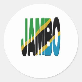 Jambo Swahili - Tanzania flag Classic Round Sticker