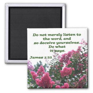 James 1:22 square magnet
