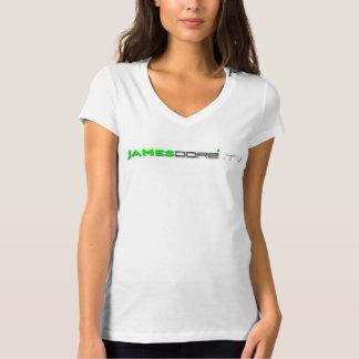 James Dore.TV Woman's V-Neck T Green lettering T-Shirt