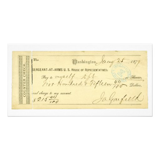 James Garfield Signed Check from January 25th 1877 Photo Card Template