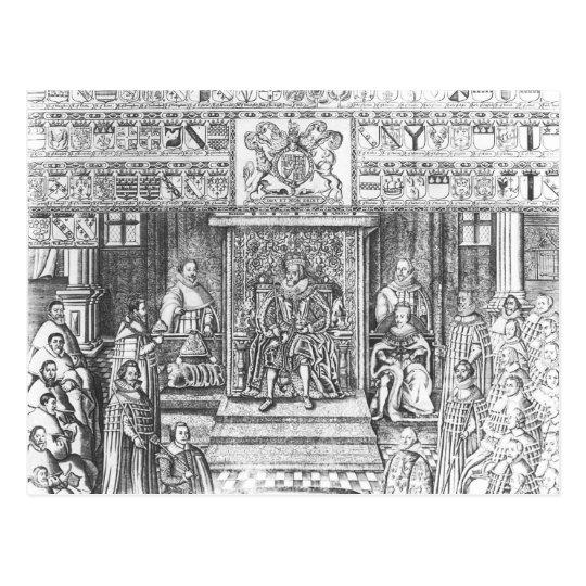 James I of England  at Court Postcard