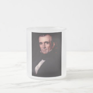 James K. Polk 11th US President Frosted Glass Coffee Mug
