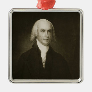 James Madison, 4th President of the United States Silver-Colored Square Decoration