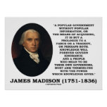 James Madison Knowledge Forever Govern Ignorance Posters