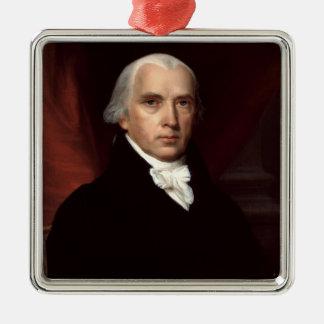 James Madison Ornament Silver-Colored Square Ornament
