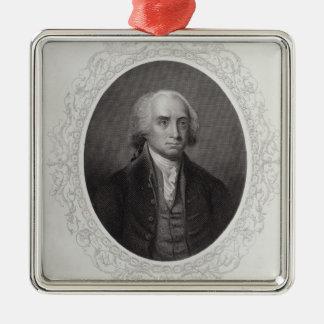 James Madison Silver-Colored Square Decoration