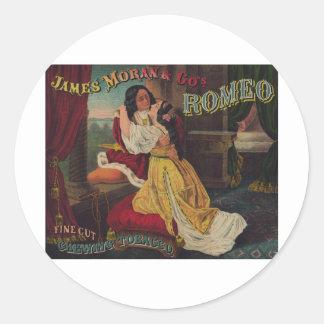 James Moran & Co's Romeo Chewing Tobacco Round Sticker