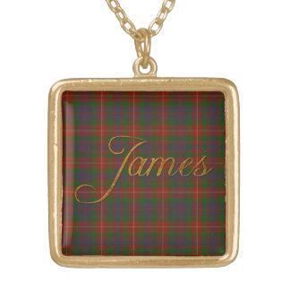 James Name-branded Pendant on Fraser Tartan