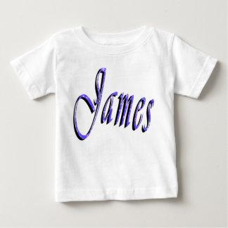James, Name, Logo,  Baby's White Cotton T-shirt