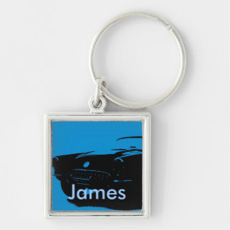 James Name Silver-Colored Square Key Ring