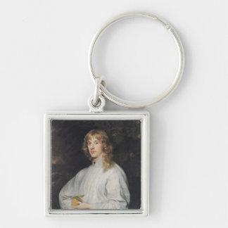 James Stuart  Duke of Richmond and Lennox Silver-Colored Square Key Ring