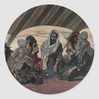 James Tissot Jethro and Moses as in Exodus 18 Round Stickers