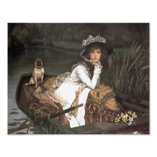 """James Tissot """"Lady in a Boat with Her Pug Dog"""" Art Photo"""