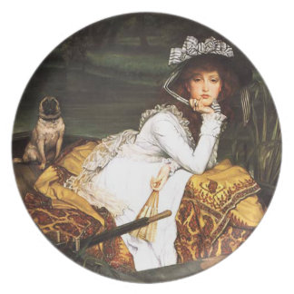 James Tissot Young Lady in a Boat Party Plates