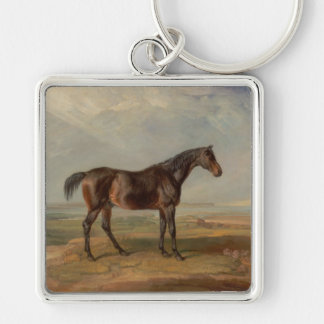 James Ward - Dr. Syntax, a Bay Racehorse Silver-Colored Square Key Ring