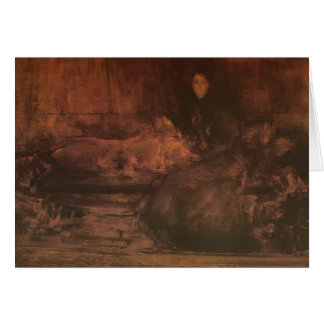 James Whistler-Brown Gold Portrait of Lady Eden Greeting Card