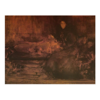 James Whistler-Brown Gold Portrait of Lady Eden Post Card