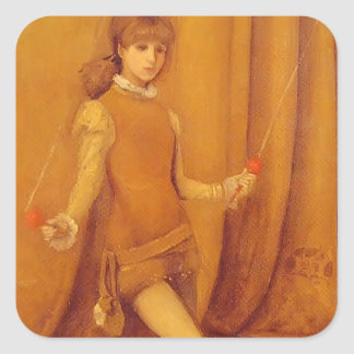 James Whistler- Harmony in Yellow and Gold Square Stickers