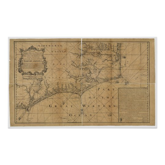 James Wimble 1738 Map of North Carolina Poster