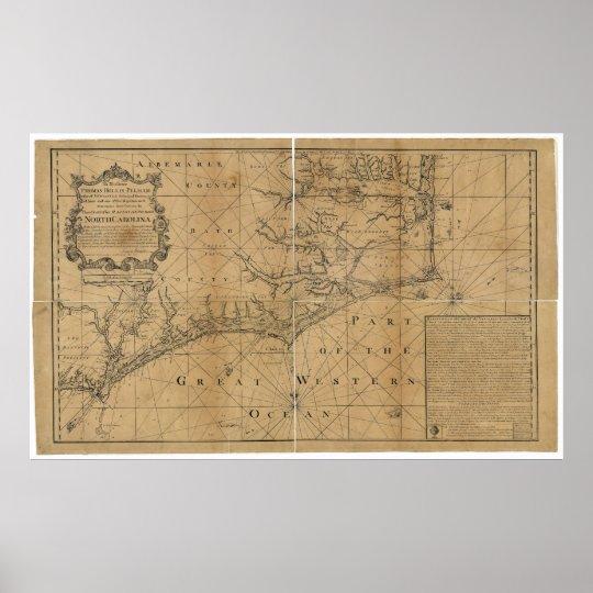 James Wimble 1738 Map of North Carolina Poster