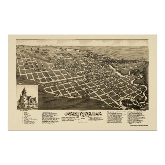 Jamestown, ND Panoramic Map - 1883 Poster