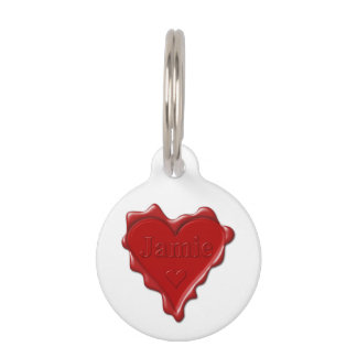 Jamie. Red heart wax seal with name Jamie Pet Name Tag