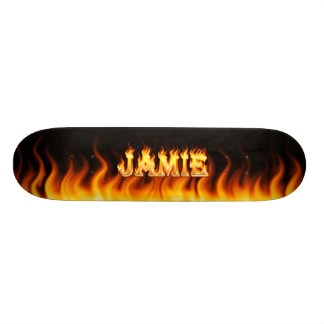 Jamie skateboard fire and flames design