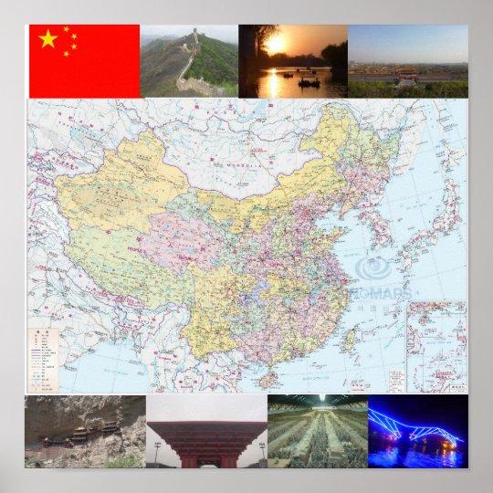 China Map Poster.Jamie S China Travel Map Poster Zazzle Co Uk