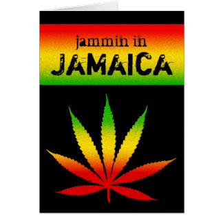 Jammin in Jamaica Reggae Colors Rasta Leaf Black Card