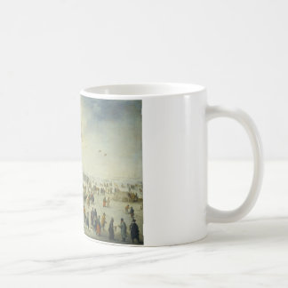 Jan Brueghel the Younger - Villagers on the ice Basic White Mug
