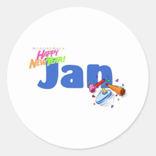 Jan (Happy New Year) Round Sticker