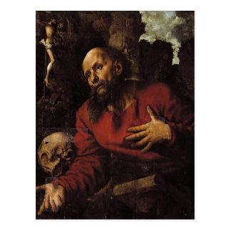 Jan Hemessen-St Jerome praying before rocky grotto Postcard