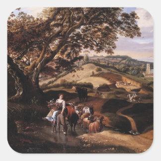 Jan Siberechts- A Pastoral Landscape Sticker
