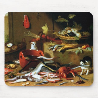 Jan Van Kessel - Two cats playing with fish Mouse Pad