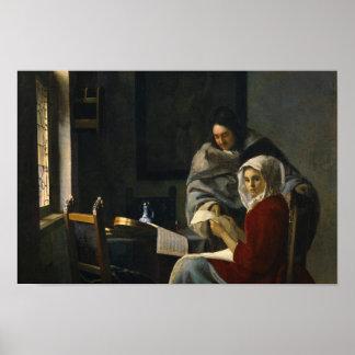 Jan Vermeer - Girl Interrupted at Her Music Poster